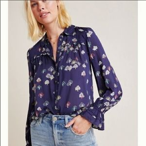 Anthropologie Maeve Navy Fredericka Tree Blouse